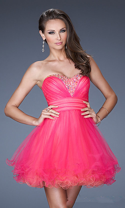 Pink Prom Dresses 2013 Short Pink Bead...