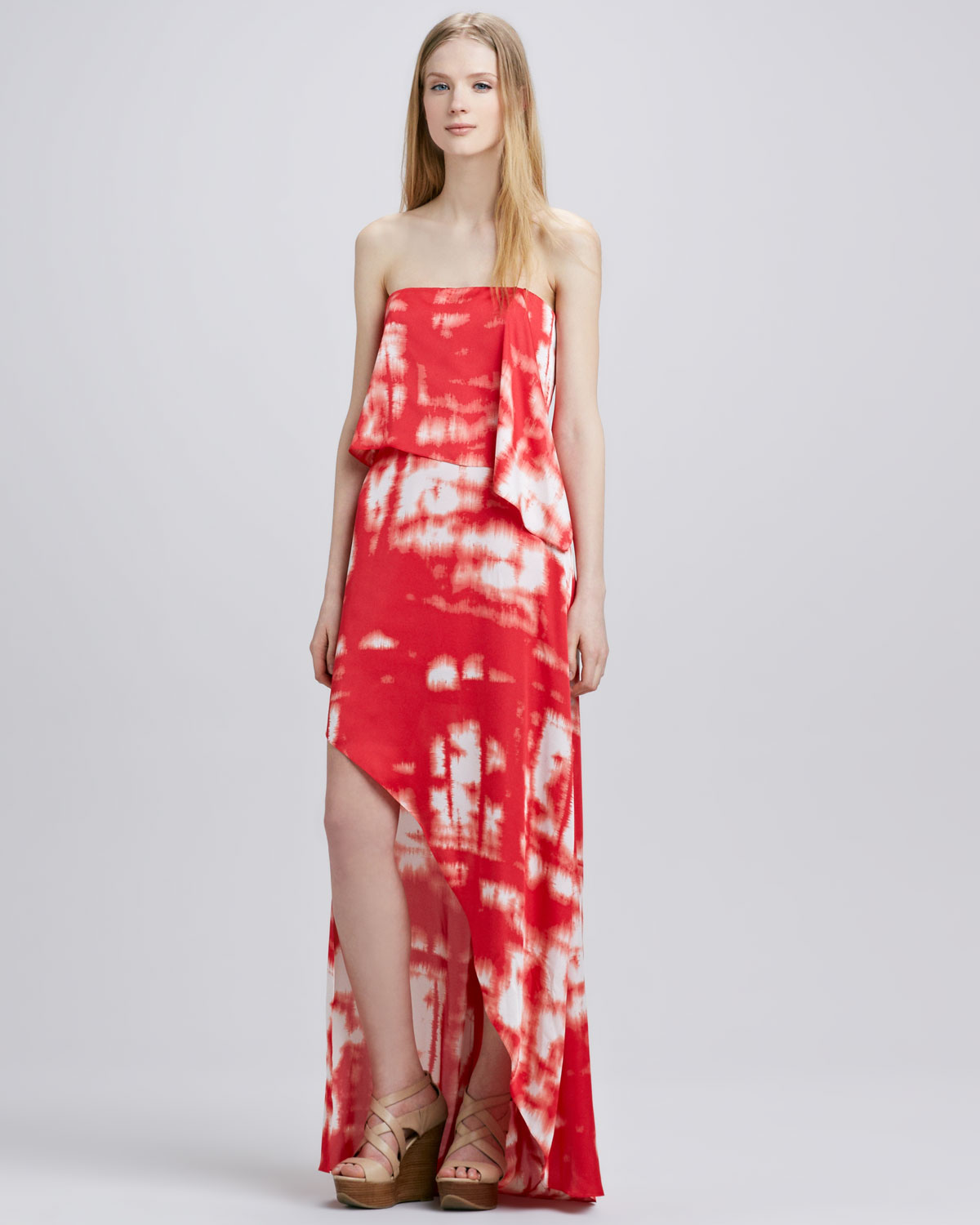 Herve Leger Red Strapless BCBG Tie Dye Maxi Dress ...
