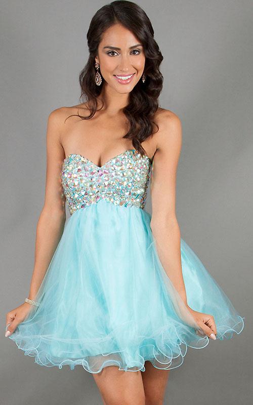 short sweetheart blue stones homecoming dresses