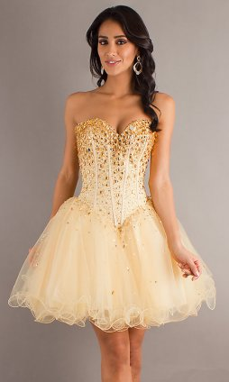Gold Corset Prom Dresses - Holiday Dresses