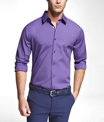 Purple dress shirt black and white tie light grey Light purple dress shirt men