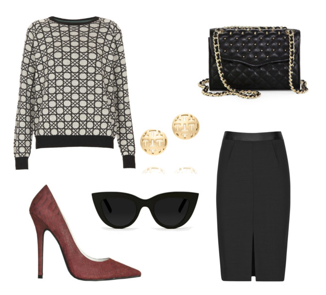 Today's Look | How to Wear a Pencil Skirt with a Printed Sweater