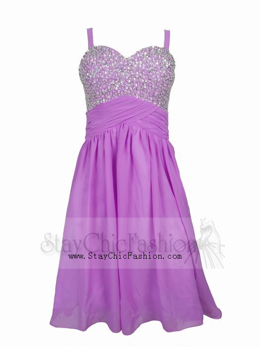 purple short lace aline homecoming dress with