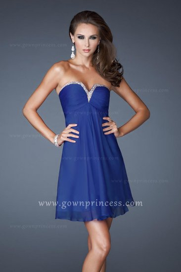 dark blue strapless la femme 17042 short aline