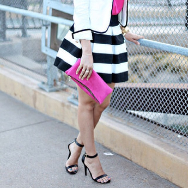 black and white striped bandage skater skirt! www.shoppublik.com