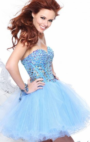 Blue Short Rhinestone Cocktail Dresses Sale [short blue prom dresses] - $15