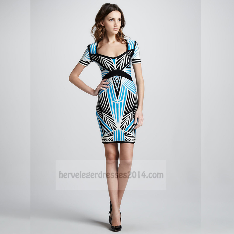 Black Blue Square Neck Short Sleeve Bandage Dress [short sleeve bandage dre