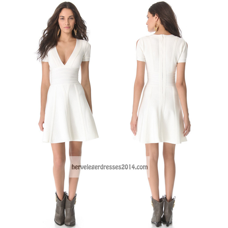 White Short Sleeve V Neck Herve Leger Flirty Dress [white bandage dress] -