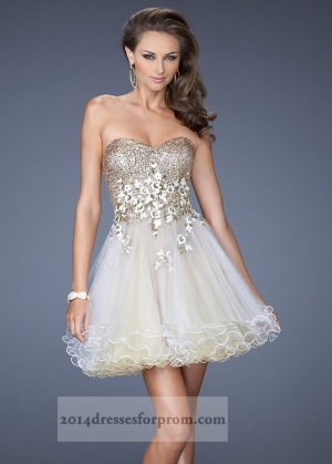 Prom dress gold and white short