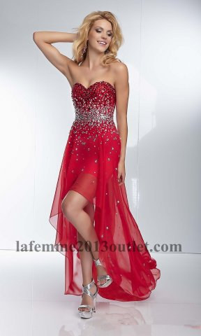 2014 red sequins high low chiffon prom dresses