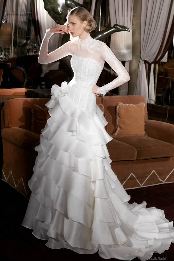High neck long sleeves lace and tiered organza for Tiered wedding dress with sleeves