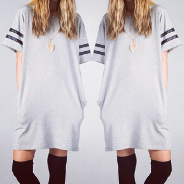 LEATHER STRIPE SLEEVE OVERSIZE TSHIRT DRESS WWW.SHOPPUBLIK.COM