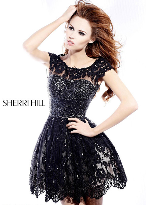 2014 Sherri Hill Black Sexy Lace/Tulle Homecoming Dress
