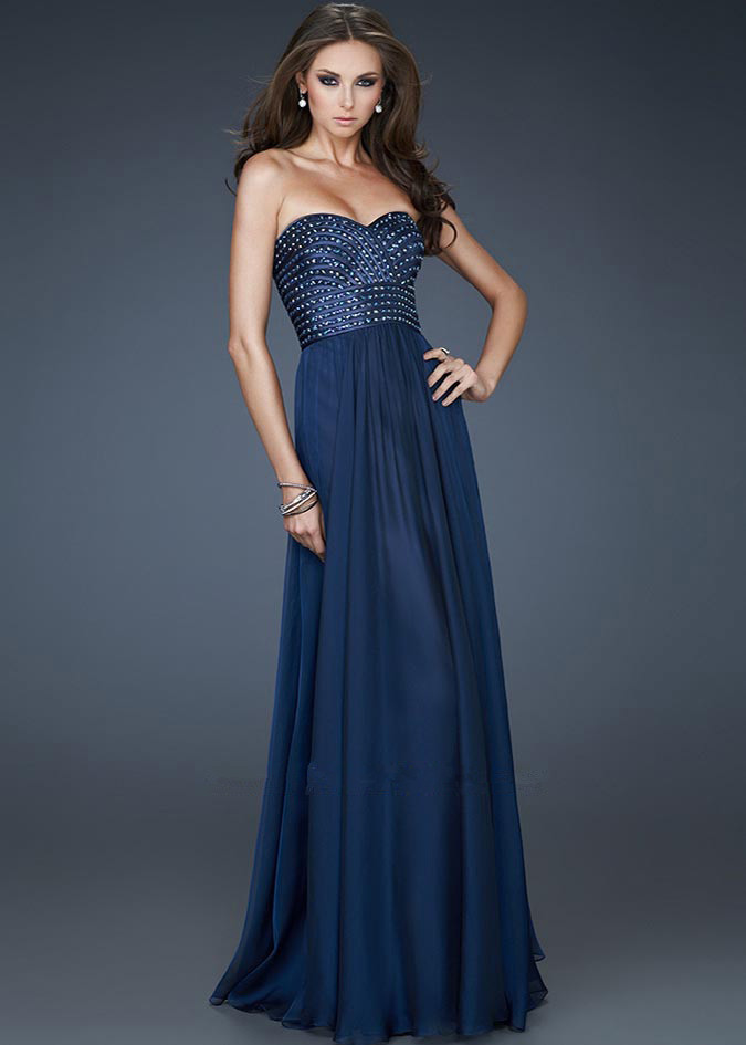 Navy Long Beaded Top Chiffon Long Prom Dresses ...