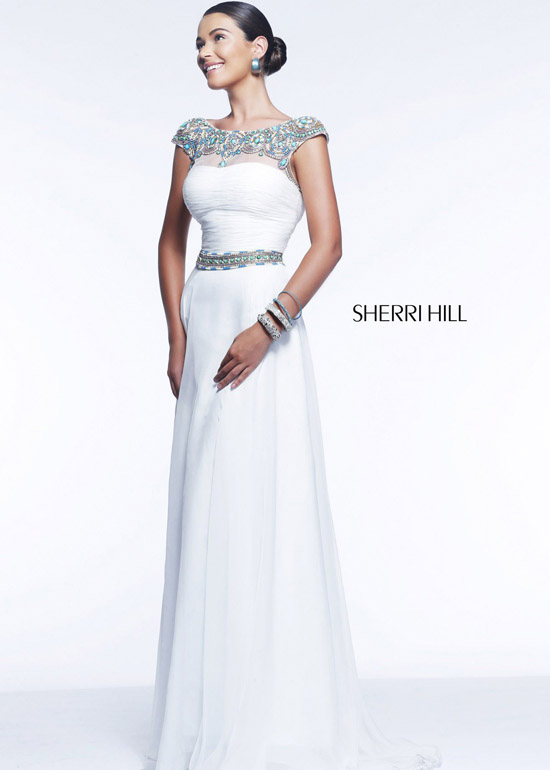 f575b0bc7e Sherri Hill Sleeveless Floor Length Prom Dress With Sheer And Sequin ...