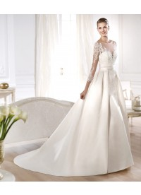 A Line Jewel Ivory Satin Wedding Dress
