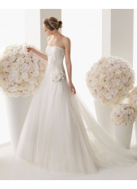 Drop Waist Strapless Tulle Ivory Wedding Dress