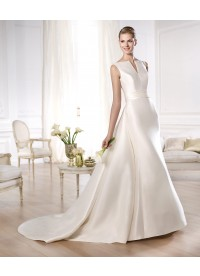 Sheath Column V Neck Ivory Satin Wedding Dress