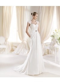 Sheath Column Sweetheart Chiffon Ivory Wedding Dress