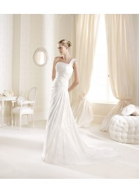Drop Waist One Shoulder Chiffon Ivory Wedding Dress