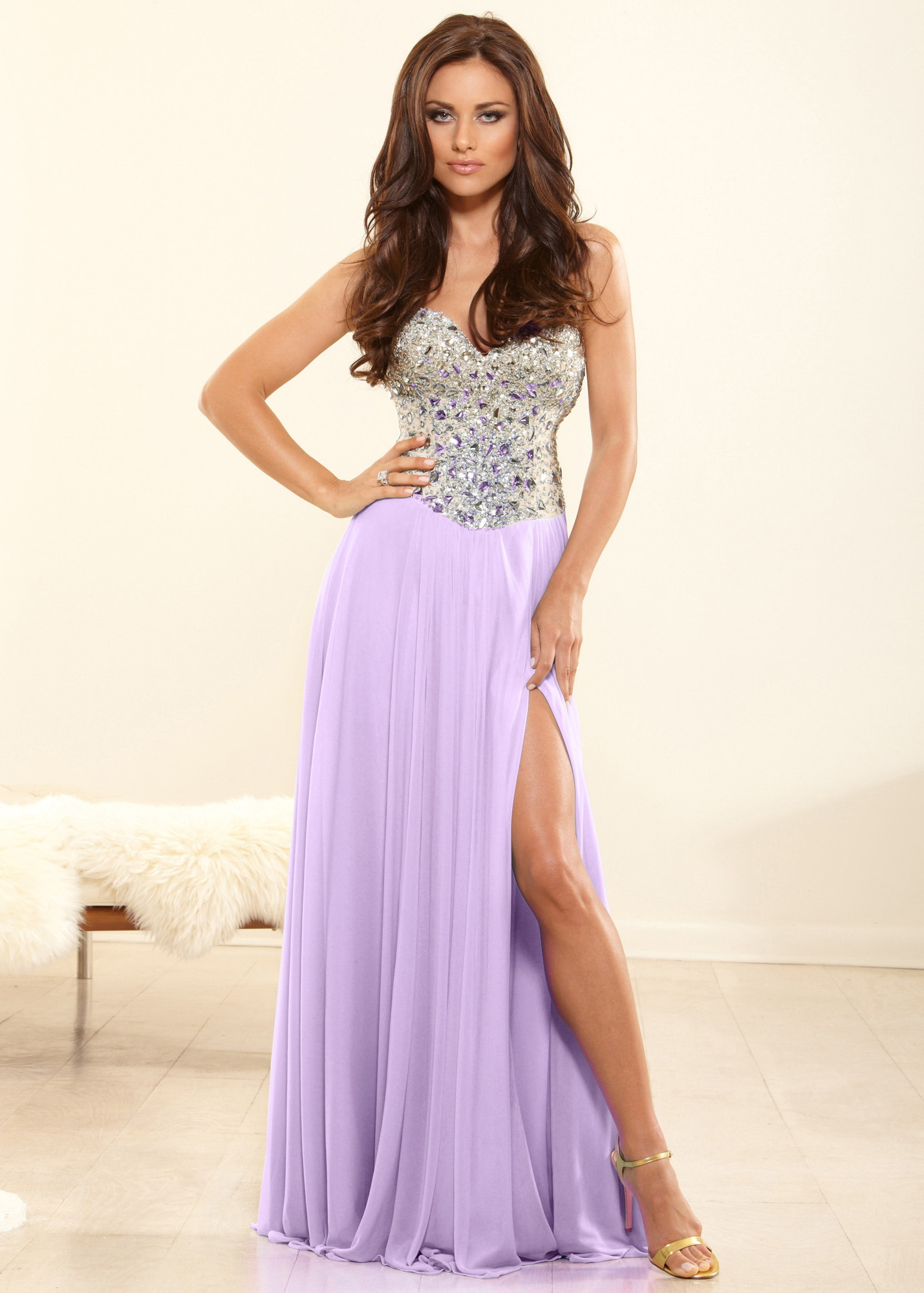 lilac stone long slitted prom dresses 2014 long
