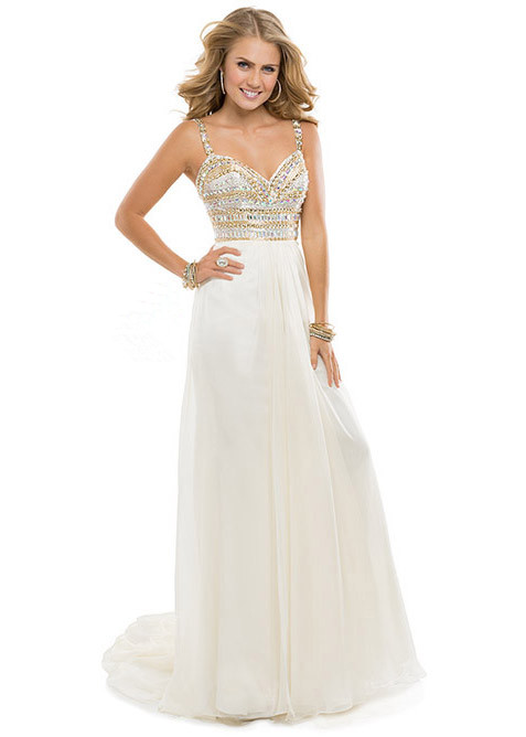 White Gold Prom Dresses Cheap - Long Dresses Online