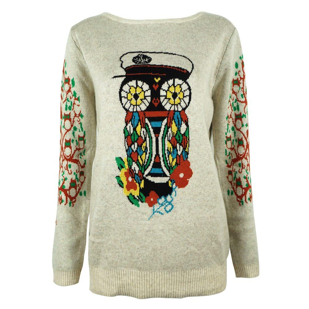Women's Floral Owl Jungle Print Pullover Jumper with Tree Jacquard Sleeves