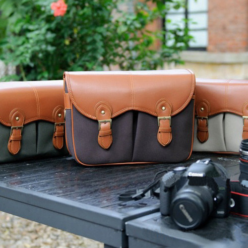 The DSLR Canon Nikon Canvas Leather Camera Bag