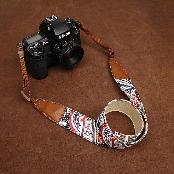 Womens Floral DSLR Canon Nikon Leather Camera Strap