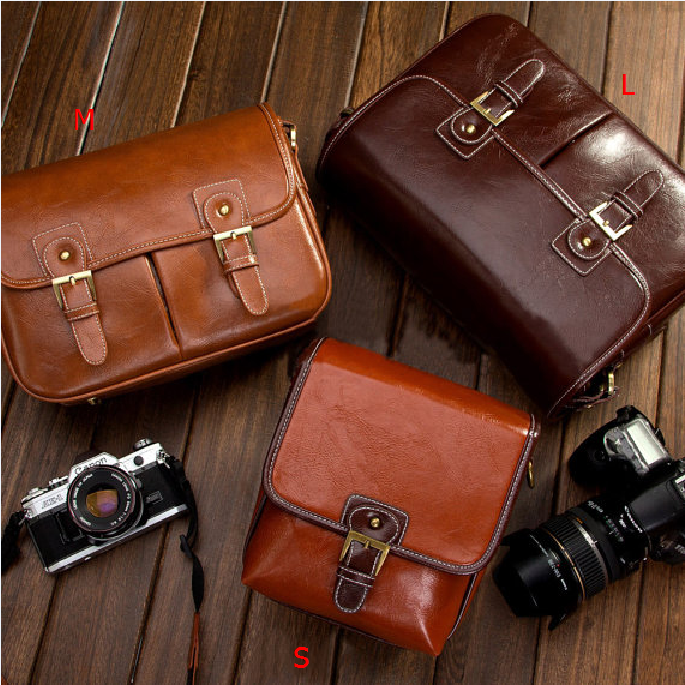 Leather DSLR Canon Nikon Camera Bag