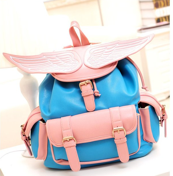 Angel Wing Leather Backpack School Bag