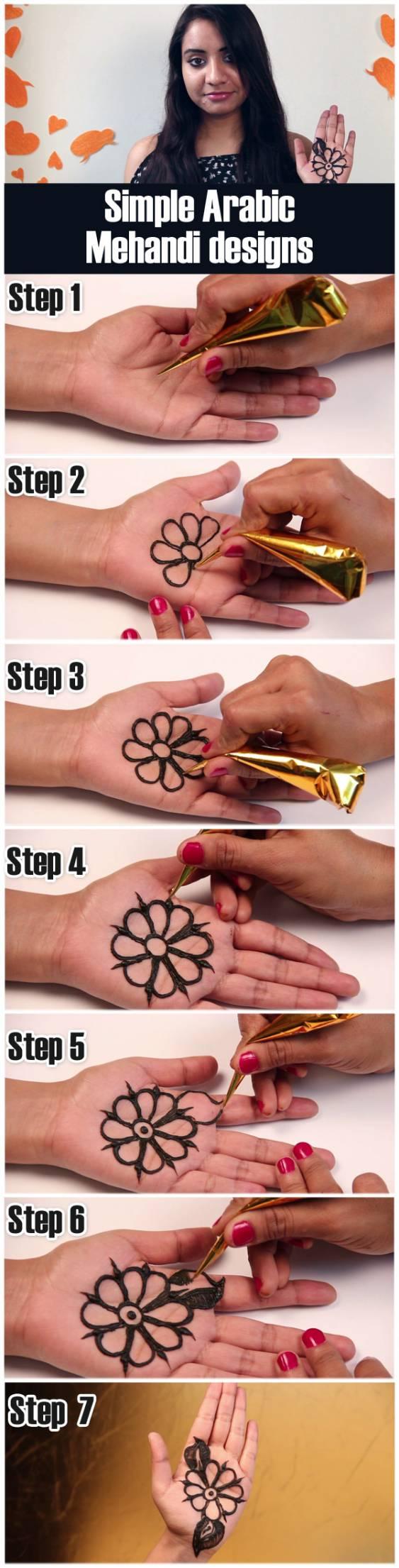2 Simple Arabic Mehndi Design Tutorials For Stylecaster
