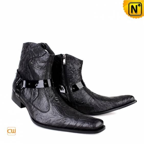 Our cool cowboy style designer dress boots black for men made from