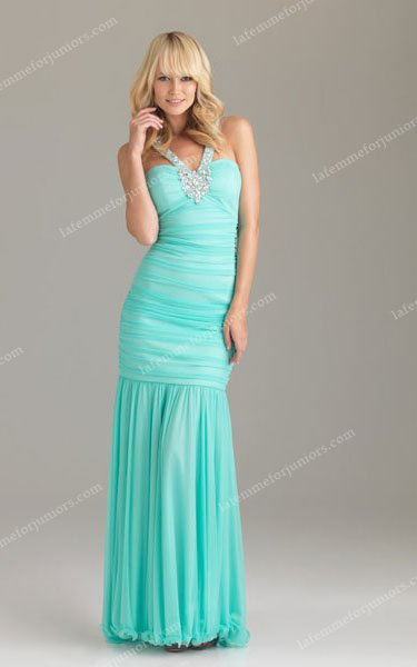 V-Halter Straps Crystal Halter 6438 Night Moves Aqua Long Prom Dresses