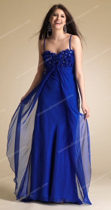 Blue Dave and Johnny 6743 Sparkling Floral Bodice Long Prom Dress