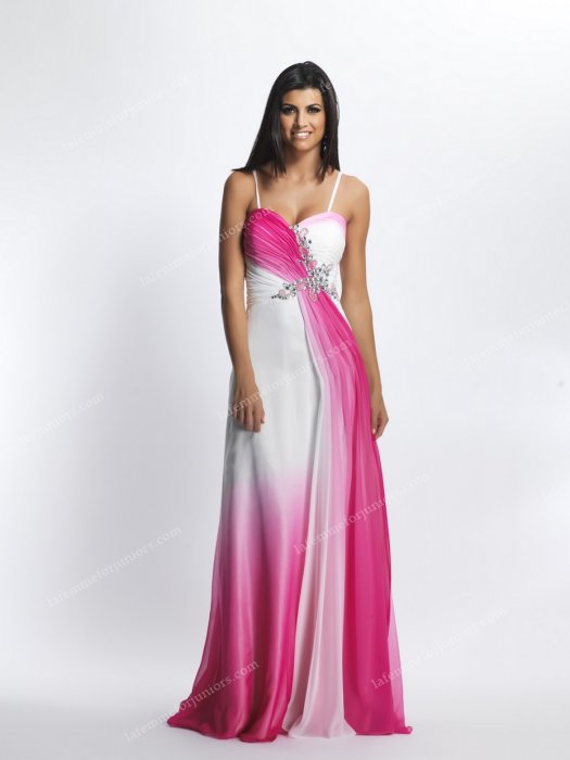 Dave and Johnny 7921 Ruched And Beaded Bodice Spaghetti Strapped Long Dress