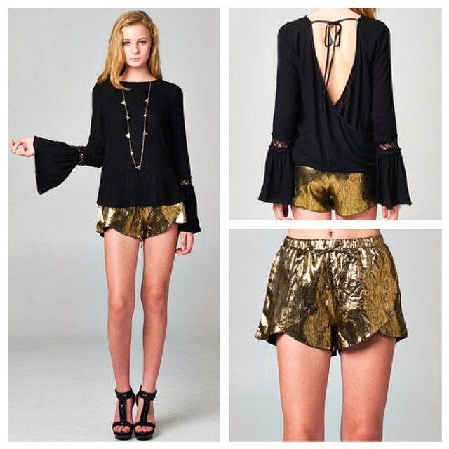 BELL SLEEVE TOPS & GOLD WRAP SHORTS! GET IT AT WWW.SHOPPUBLIK.COM