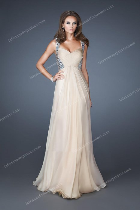 Two Shoulder Sequin Full Length Nude Prom Dresses Cheap