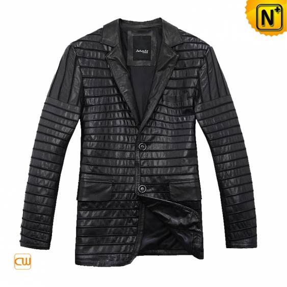 Mens Leather Blazer Jacket Black CW866830