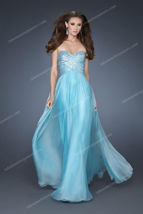 La Femme Aqua Strapless Sequined Bodice Gowns for Prom 18342
