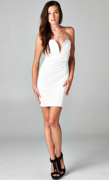 PLUNGING V BODYCON DRESS - WHITE | PUBLIK | Women's Clothing & Accessories