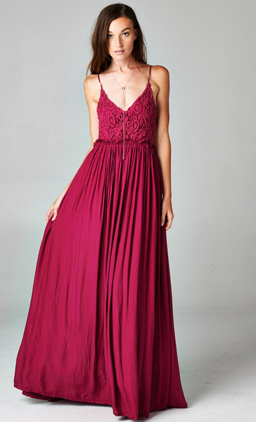 BLOSSOMING CROCHETED BACKLESS MAXI DRESS - WINE | PUBLIK | Women's Clothing
