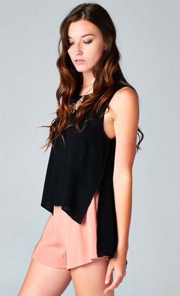 SIDE SLIT OPEN BACK TOP - BLACK | PUBLIK | Women's Clothing & Accessories
