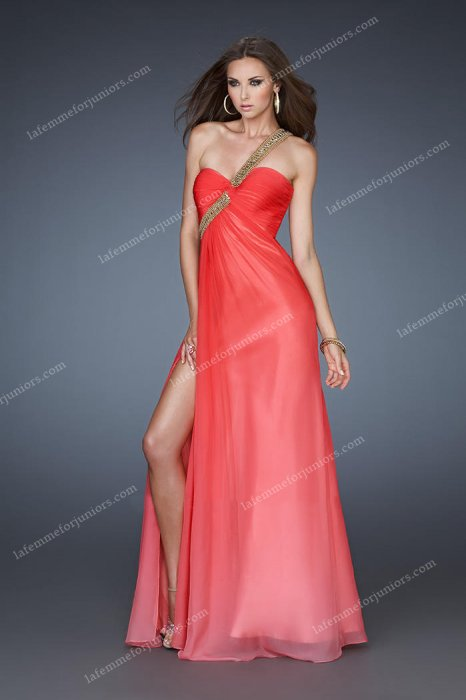 Ombre Chiffon Spicy Red One Shoulder La Femme 18398 Homecoming Dresses [La