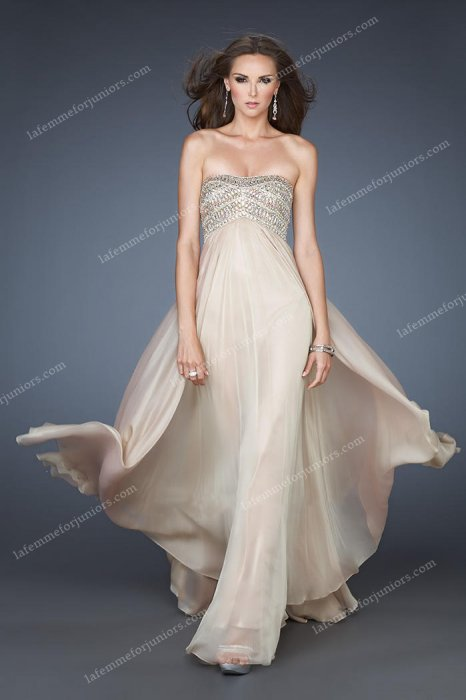 A Line Chiffon Strapless Sequined Prom Dresses Nude La Femme 18447