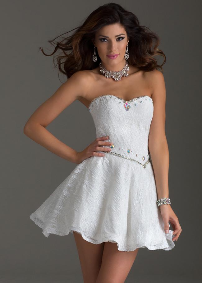 White Strapless Clarisse 2452 Flirty Sequin Stylecaster