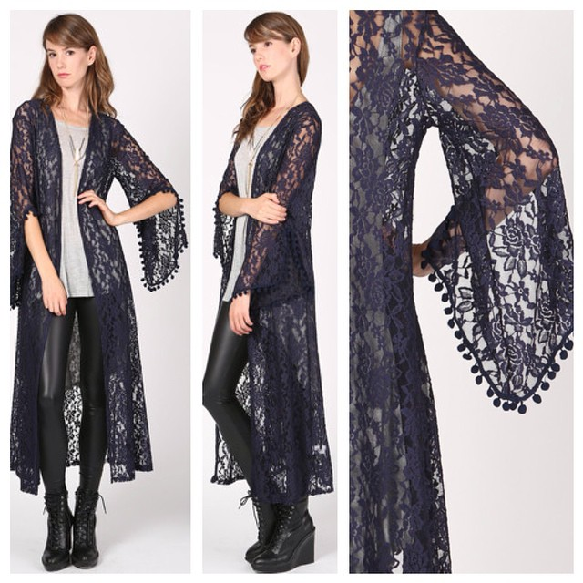 LONG LACE CARDIGAN WITH POMPOM BELL SLEEVES @ WWW.SHOPPUBLIK.COM