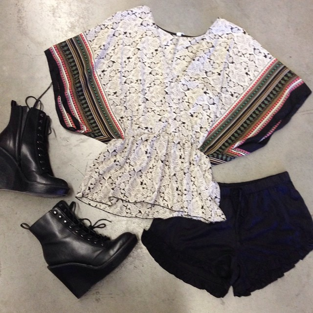 TRIBAL PRINT KIMONO TOPS AND SUEDE RUFFLED SHORTS! @ WWW.SHOPPUBLIK.COM