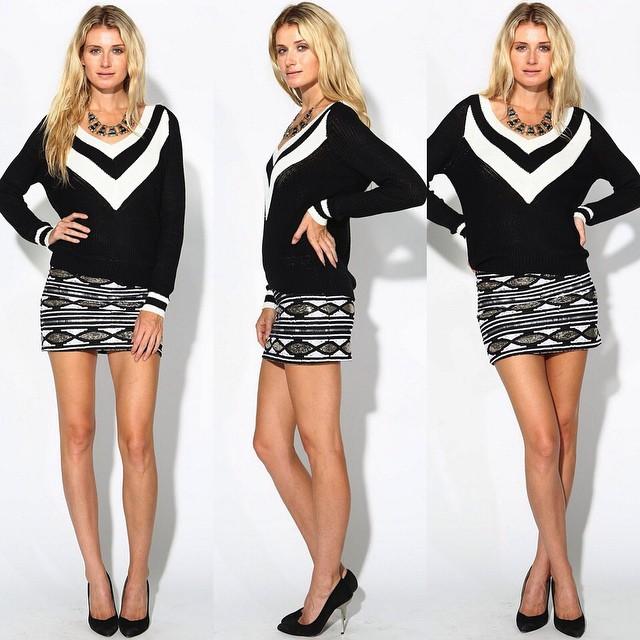 Varsity Vneck sweaters & embellished sequin mini skirts! WWW.SHOPPUBLIK.COM