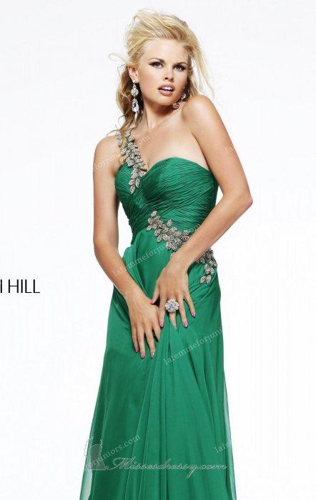 Asymmetrical Beaded Gown by Sherri Hill 11073 Dress